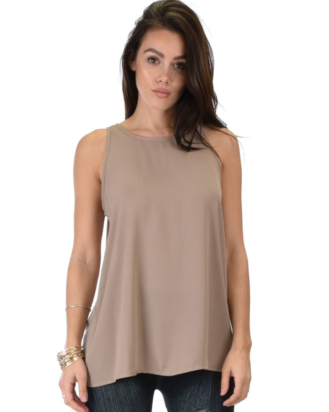 At First Crush Taupe Sleeveless Top With Keyhole Back