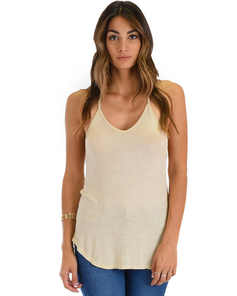 Breezy Beauty Y-Back Taupe Tank Top