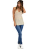 Breezy Beauty Y-Back Taupe Tank Top - Full Image