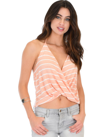 Dapperly Draped Striped Pink Halter Top