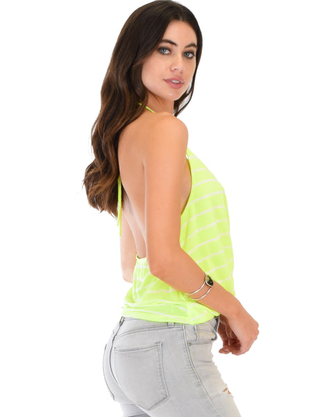 Dapperly Draped Striped Neon Halter Top
