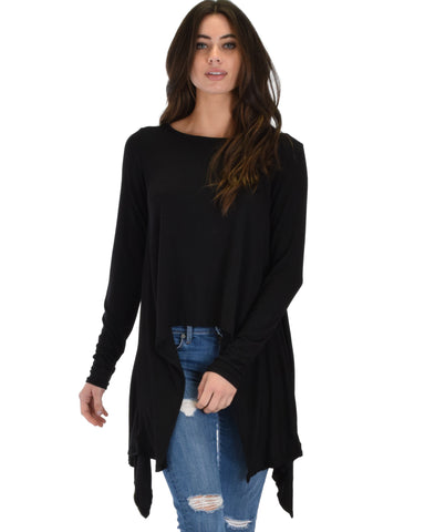 Shift and Swing Long Sleeve Black Tunic Top