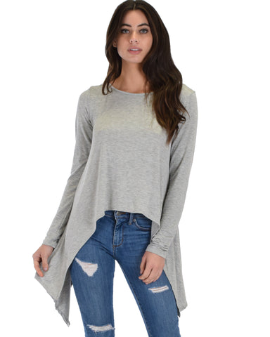 Shift and Swing Long Sleeve Grey Tunic Top