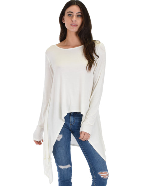 Shift and Swing Long Sleeve Ivory Tunic Top
