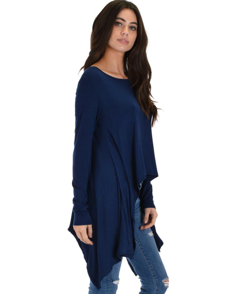 Shift and Swing Long Sleeve Navy Tunic Top