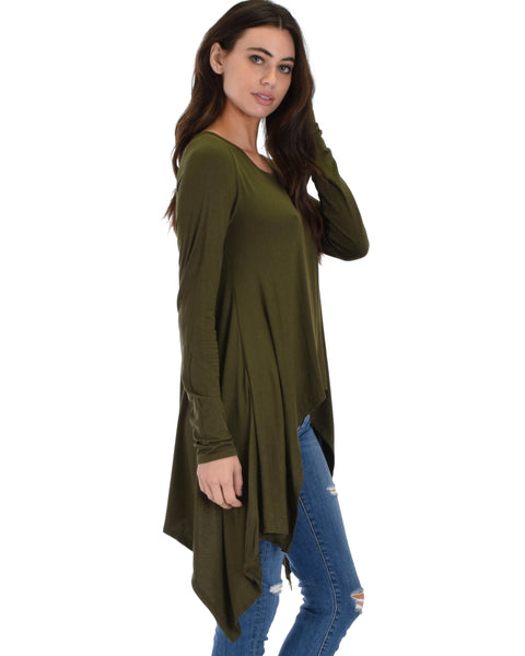 Shift and Swing Long Sleeve Olive Tunic Top