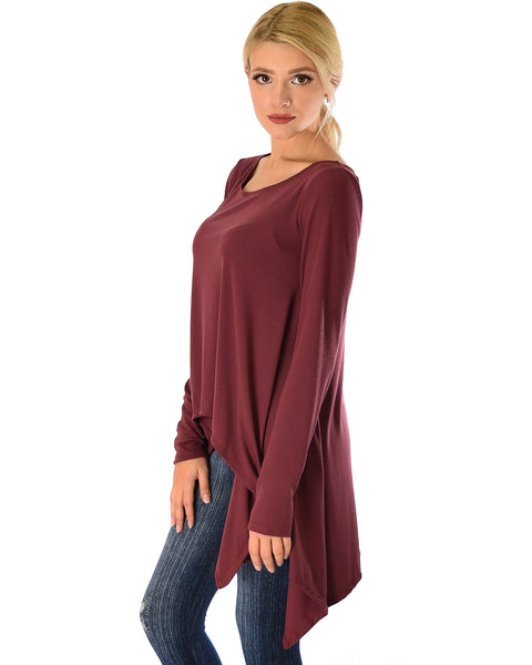 Shift and Swing Long Sleeve Burgundy Tunic Top