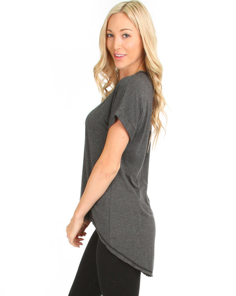 All Day Comfort Contrast Stitch Hi-Low Charcoal Tunic Top