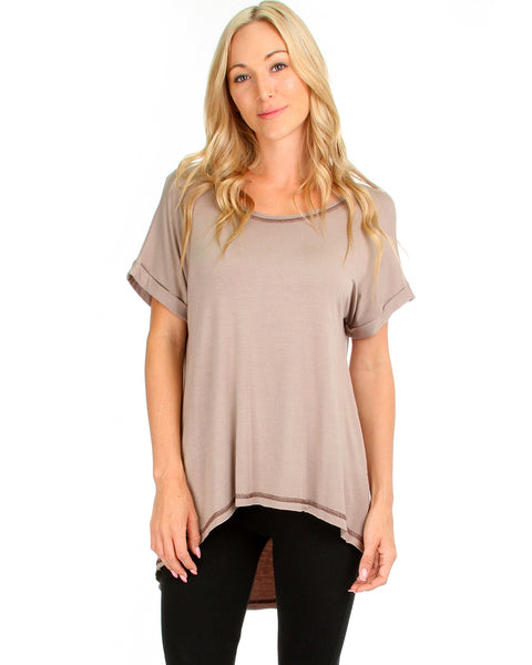 All Day Comfort Contrast Stitch Hi-Low Taupe Tunic Top