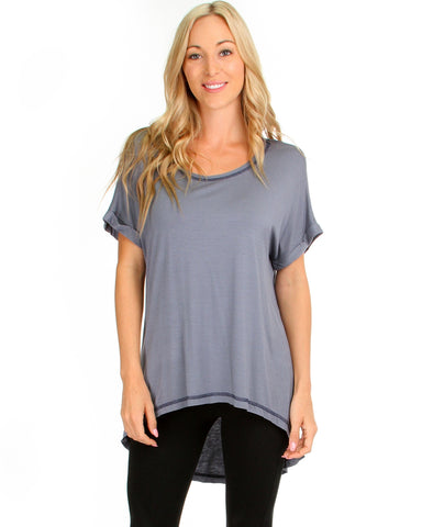 All Day Comfort Contrast Stitch Hi-Low Blue Tunic Top