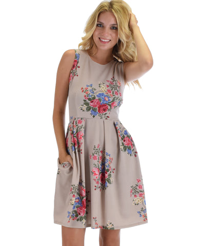 I'm Smitten Taupe Floral Print Skater Dress With Pockets
