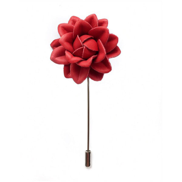RED LEATHER BOUTONNIERE