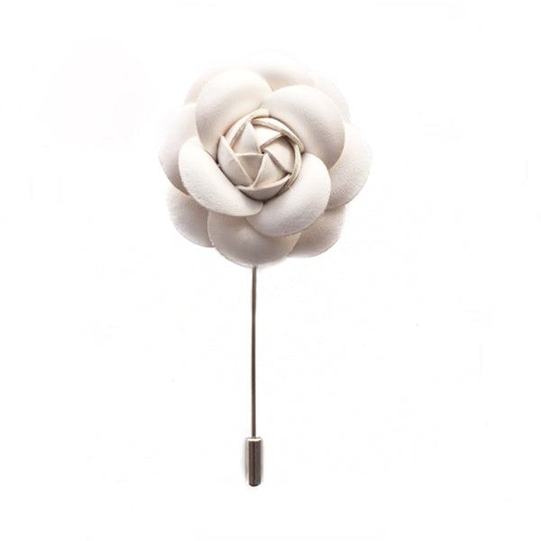WHITE LEATHER FINISH FLOWER BOUTONNIERE
