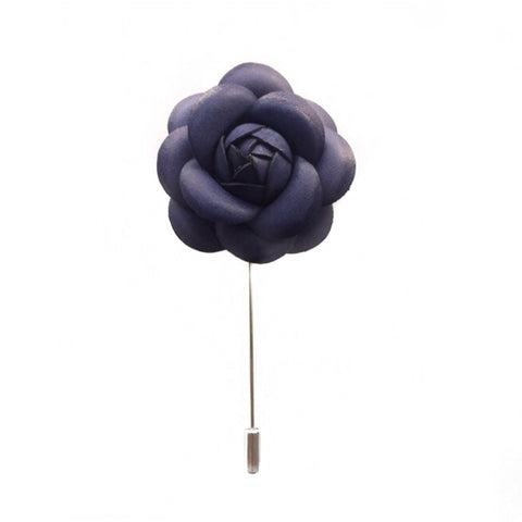 PURPLE LEATHER FINISH FLOWER BOUTONNIERE