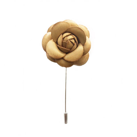 CAMEL LEATHER FINISH FLOWER BOUTONNIERE