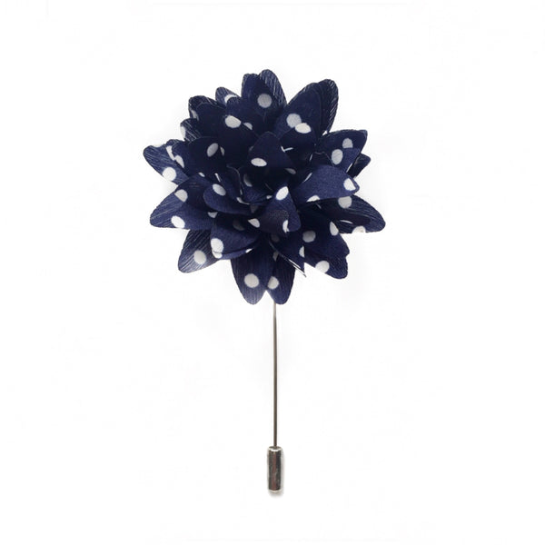 NAVY & WHITE DOTS BOUTONNIERE