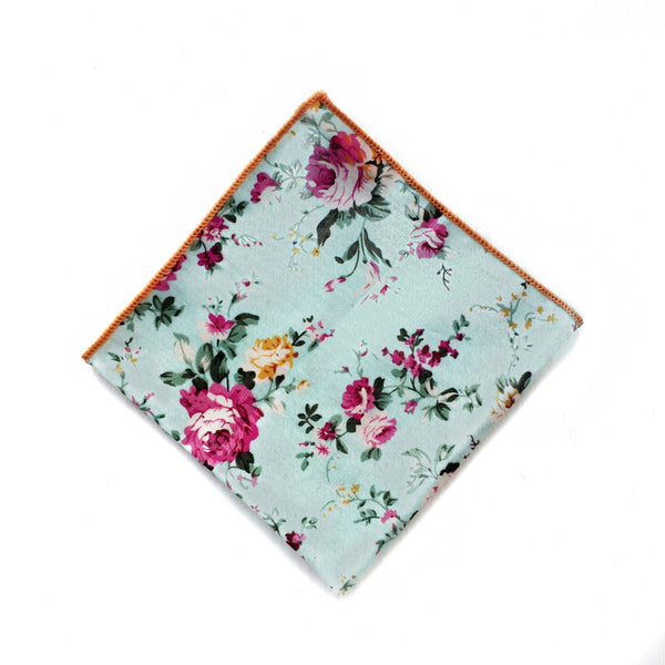 BABY BLUE FLORAL POCKET SQUARE