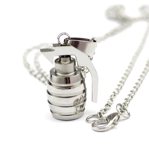 SILVER GRENADE PENDANT & NECKLACE