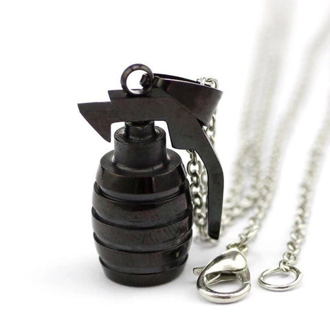 BLACK GRENADE PENDANT & NECKLACE