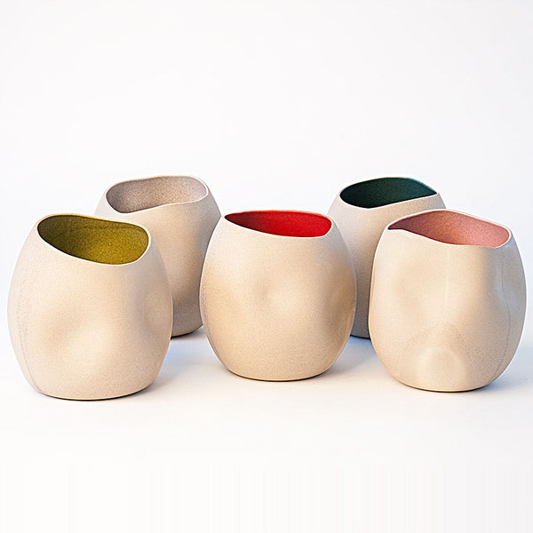 Out of Shape Vases in Speckled Stoneware