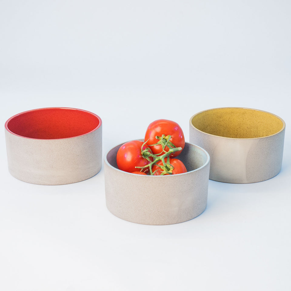 Utilità Bowl Collection - Sumac Red, Light Aqua, Sun Yellow Small