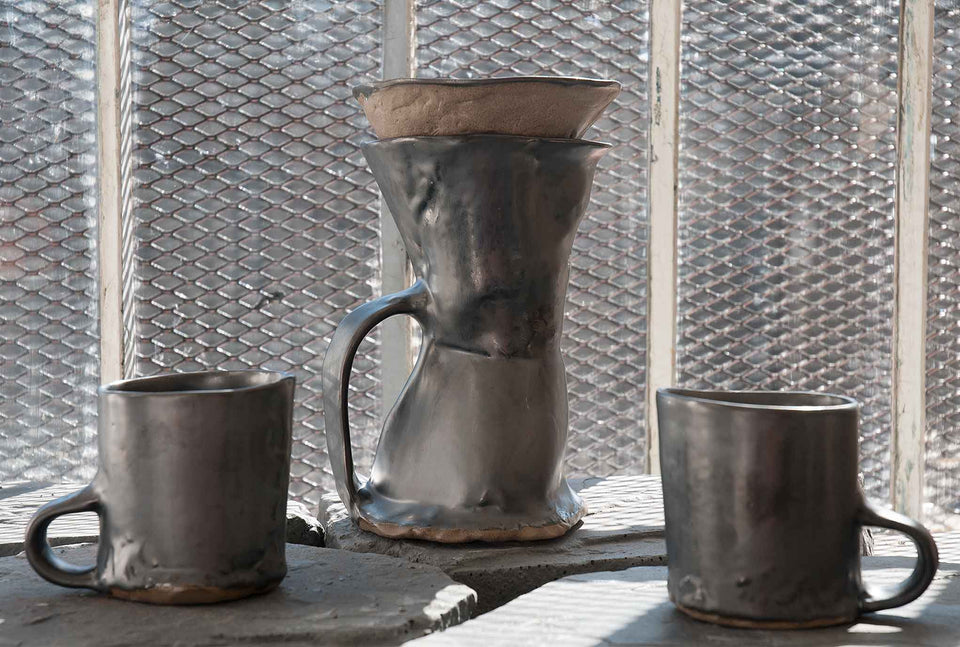 J Schatz Earth Brutal Coffeemakers and Mugs in Studio
