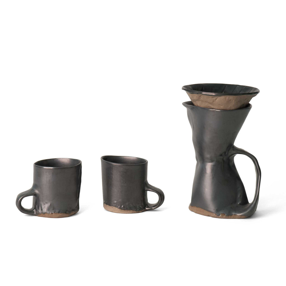 J Schatz Earth Brutal Coffeemaker and Two Mug Set
