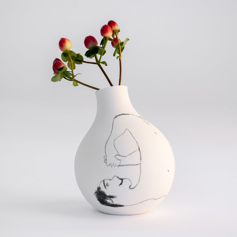 Days of the Week Bud Vase - Sunday with Flowers