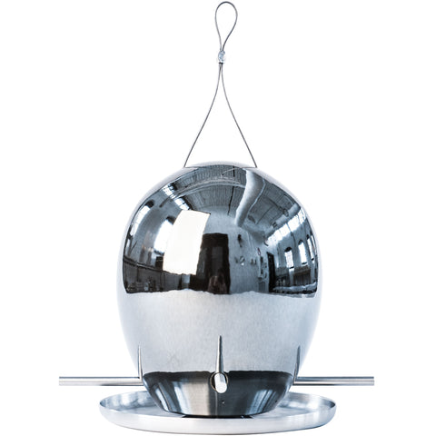 Egg Bird Feeder in Platinum