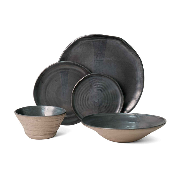 J Schatz JS 157 Stoneware Tableware Set in Metallic Black