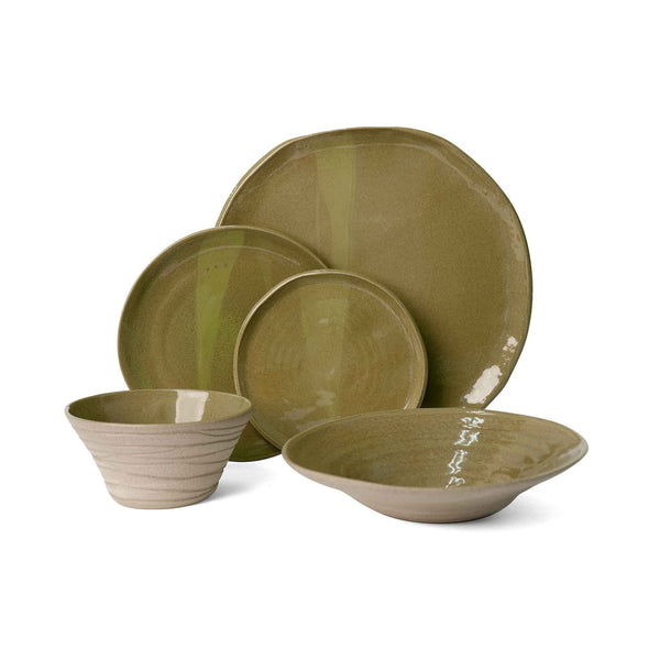 J Schatz JS 157 Stoneware Tableware Set in Moss Green