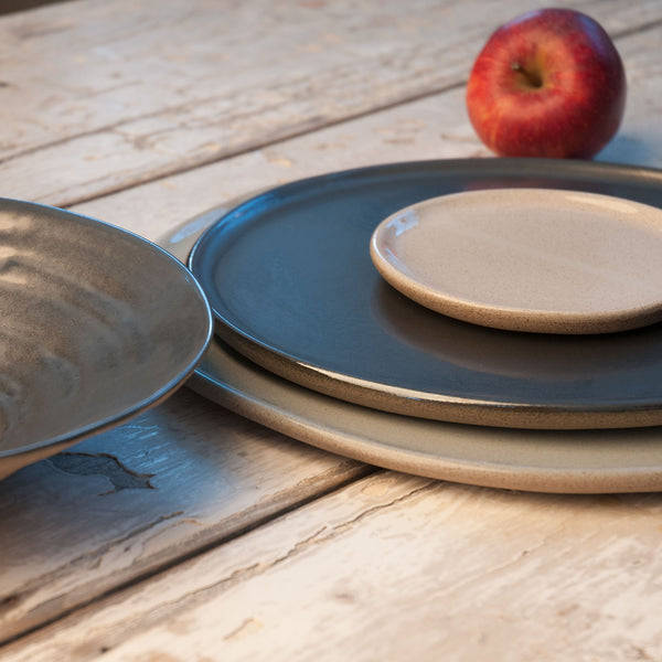 JS 159 Metallic Black, White, and Light Aqua Speckled Stoneware Tableware