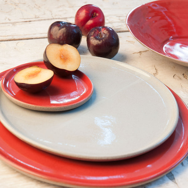 JS 159 Light Aqua and Sumac Red Speckled Stoneware Tableware