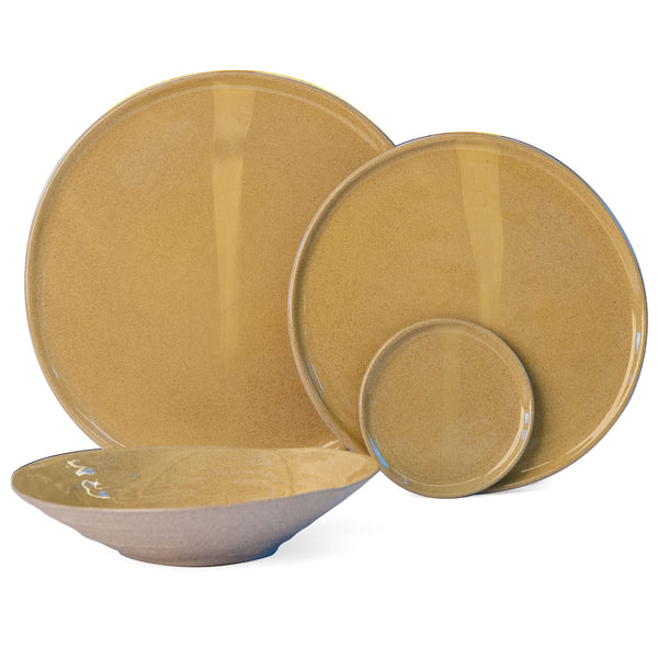 JS 159 Harvest Yellow Speckled Stoneware Tableware Set