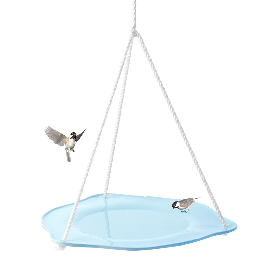 J Schatz Bird Bath in Light Aqua with Chickadees