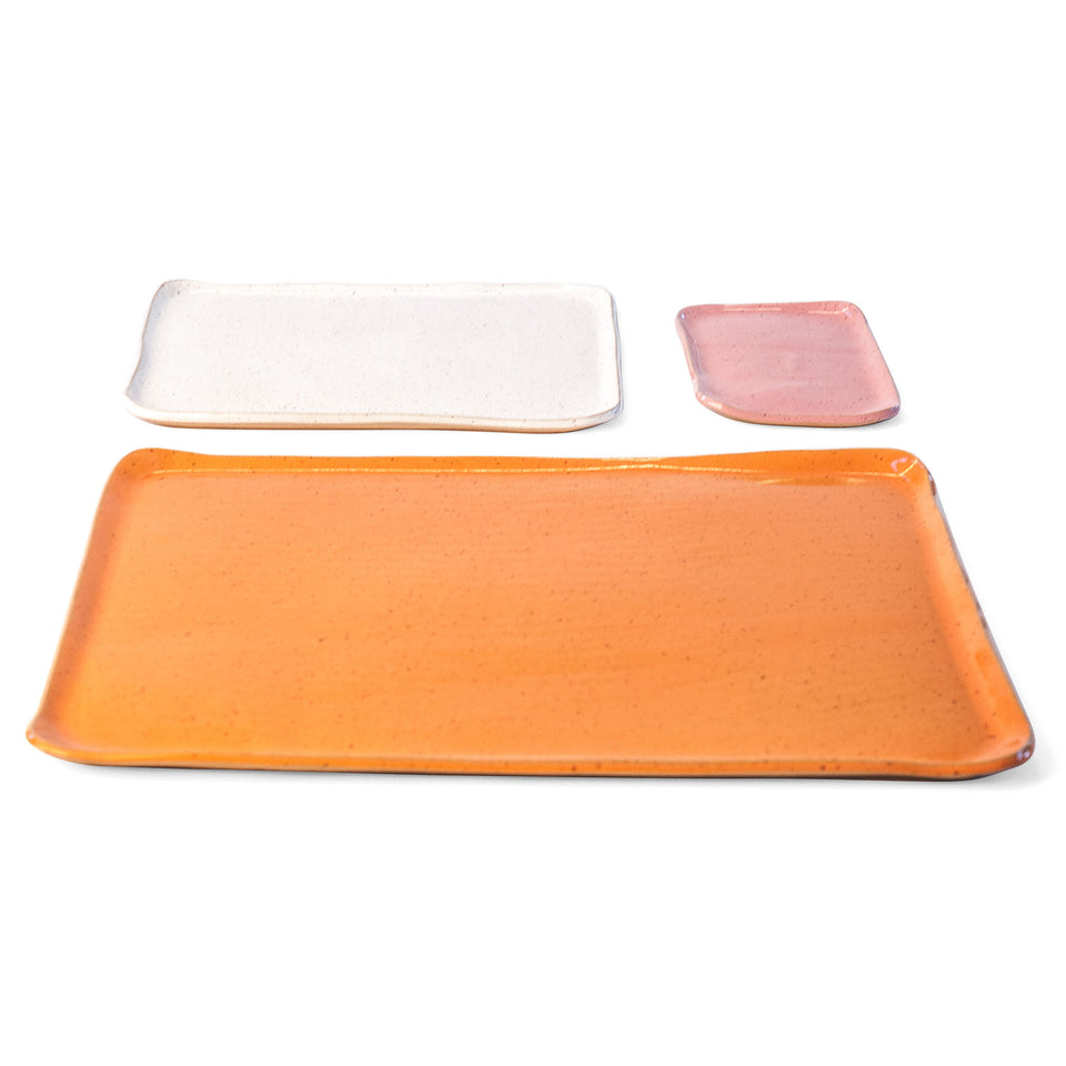 Large Mod Platter Set in Pink, White, and Orange Peel Detail