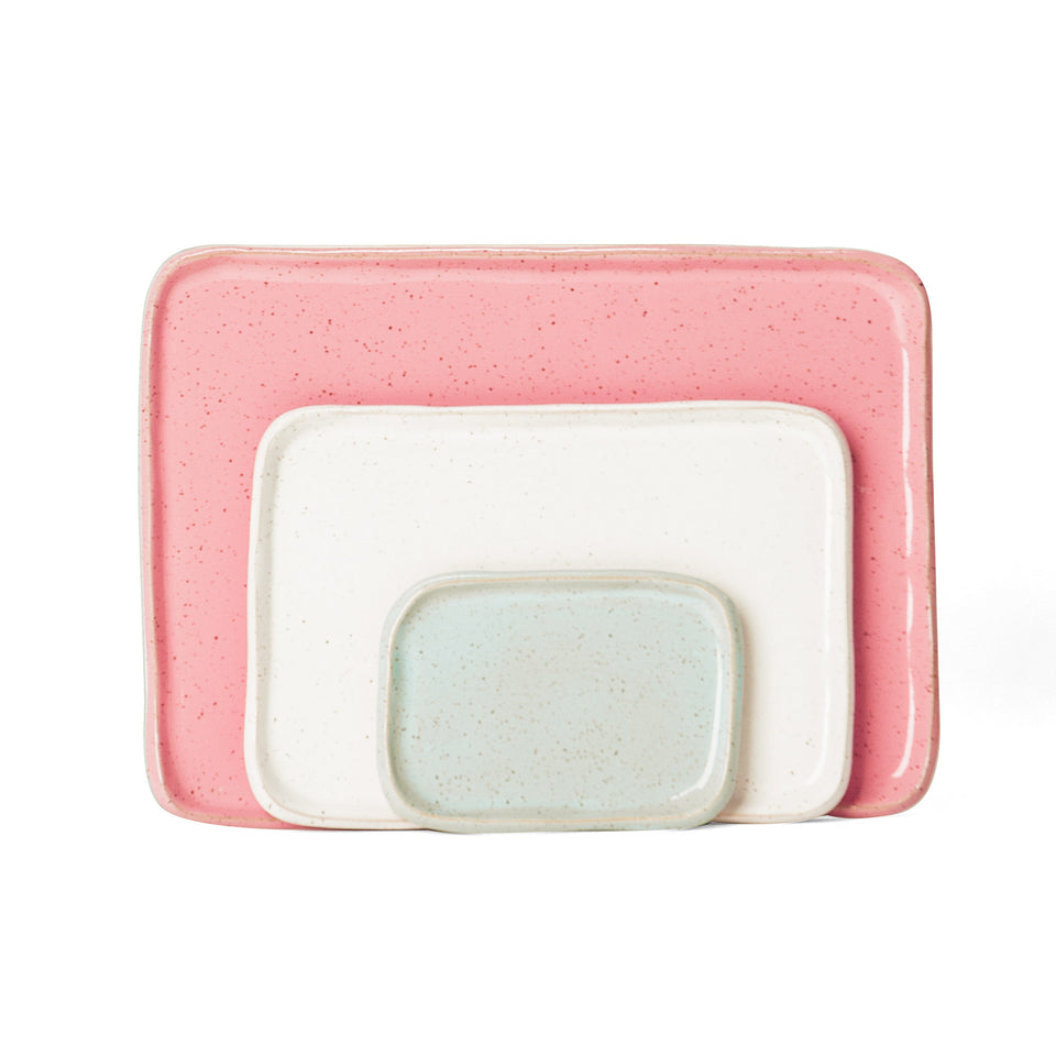 Medium Mod Platter Set in Light Aqua, White, and Pink