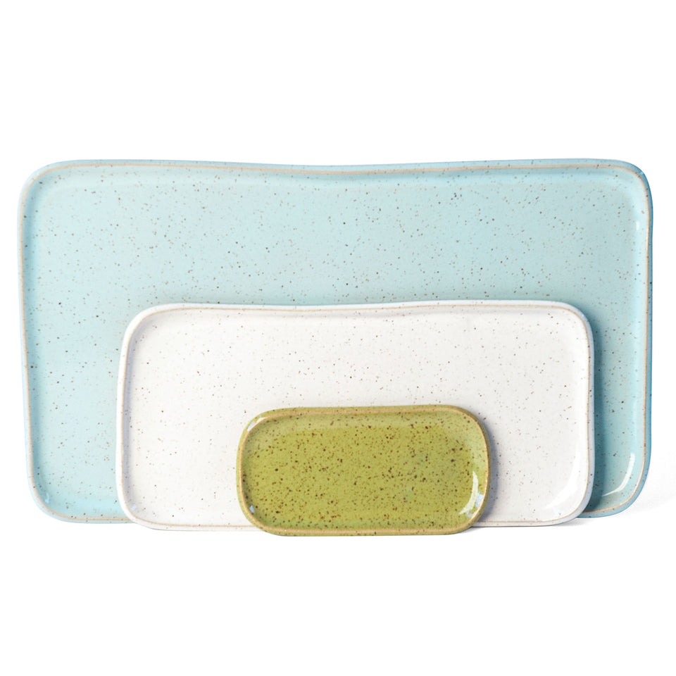 Medium Mod Platter Set in Olive, White, and Light Aqua