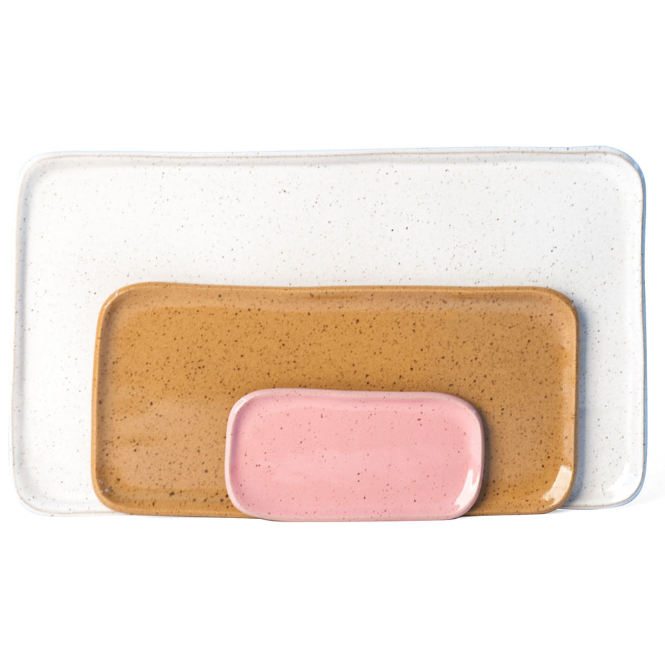 Medium Mod Platter Set in Pink, Ginger, and White