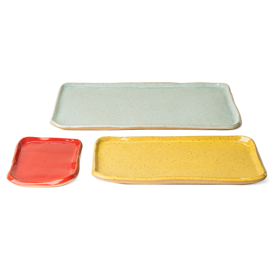 Medium Mod Platter Set in Sumac Red, Goldenrod Yellow, and Light Aqua Detail