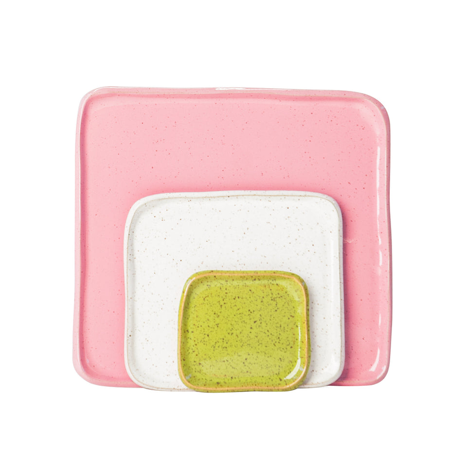Small Mod Platter Set in Olive, White, and Pink