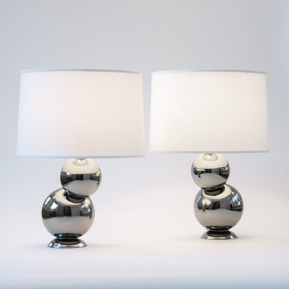 Offset Table Lamp Pair in Platinum Detail 1