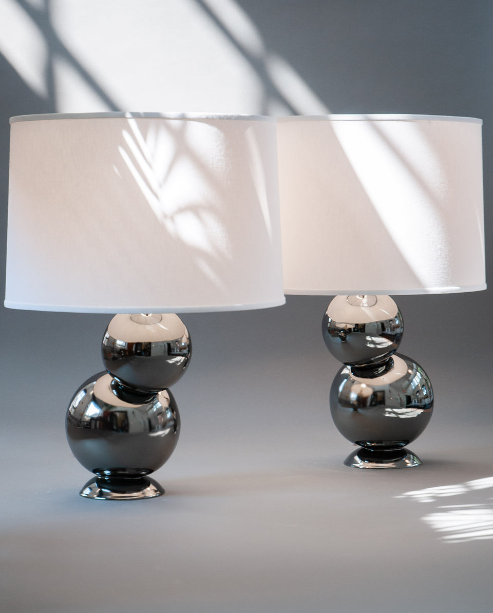 Offset Table Lamp Pair in Platinum