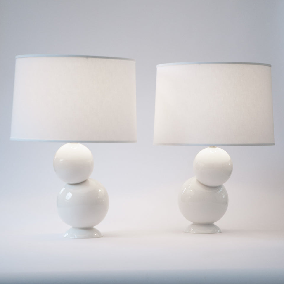 Offset Table Lamp Pair in White Detail 1