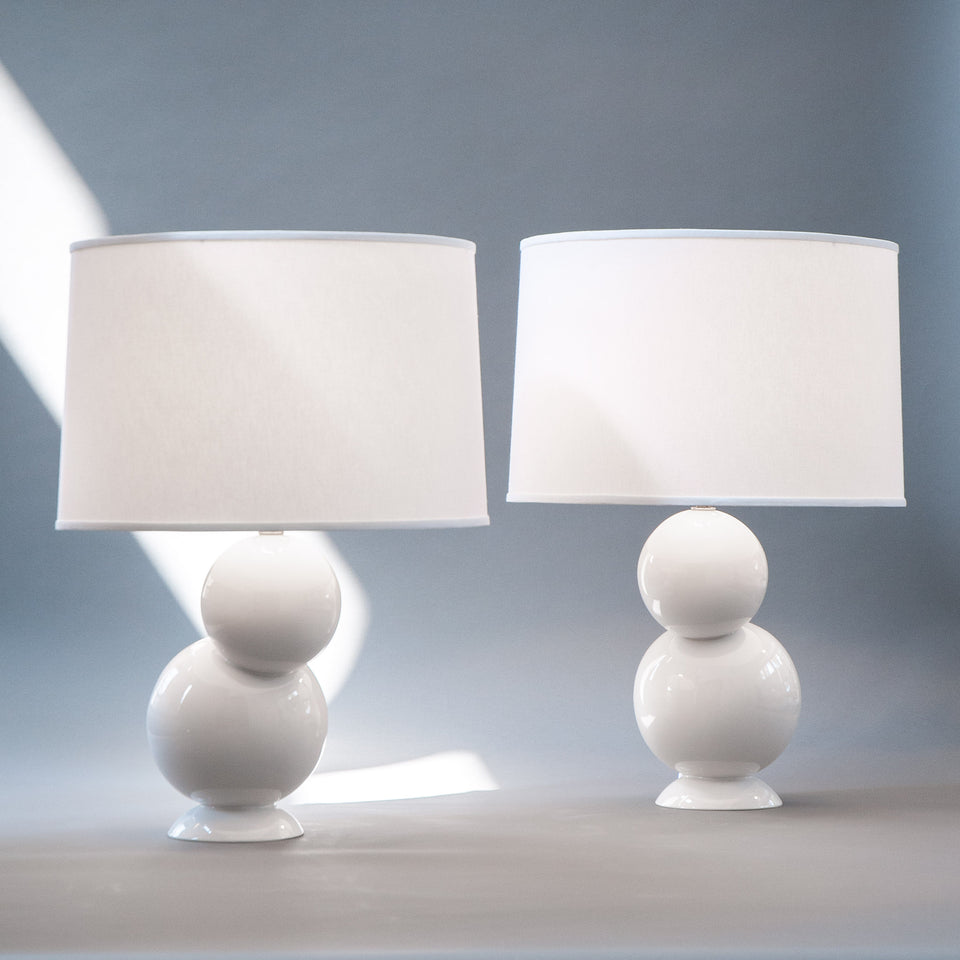 Offset Table Lamp Pair in White
