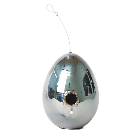 J Schatz Egg Bird House in Platinum