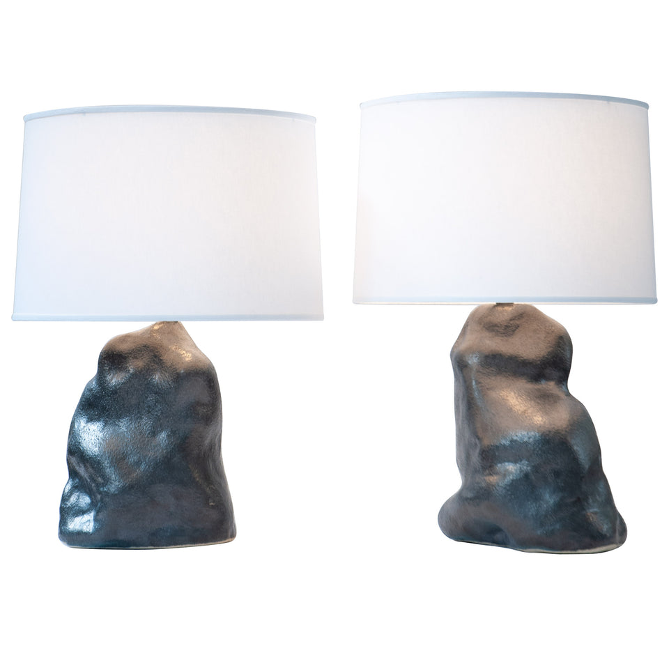 Metallic Black Amorphous Lamp Pair Detail 1