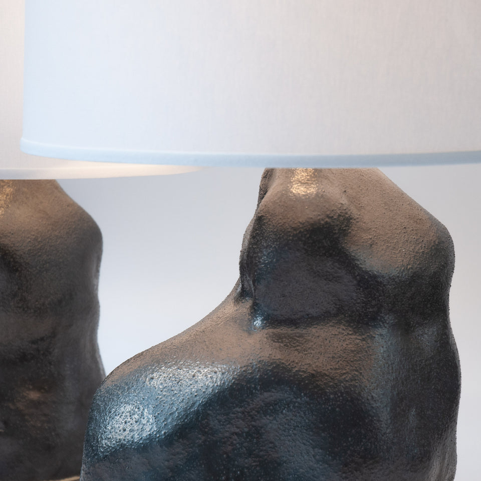 Metallic Black Amorphous Lamp Pair Detail 3