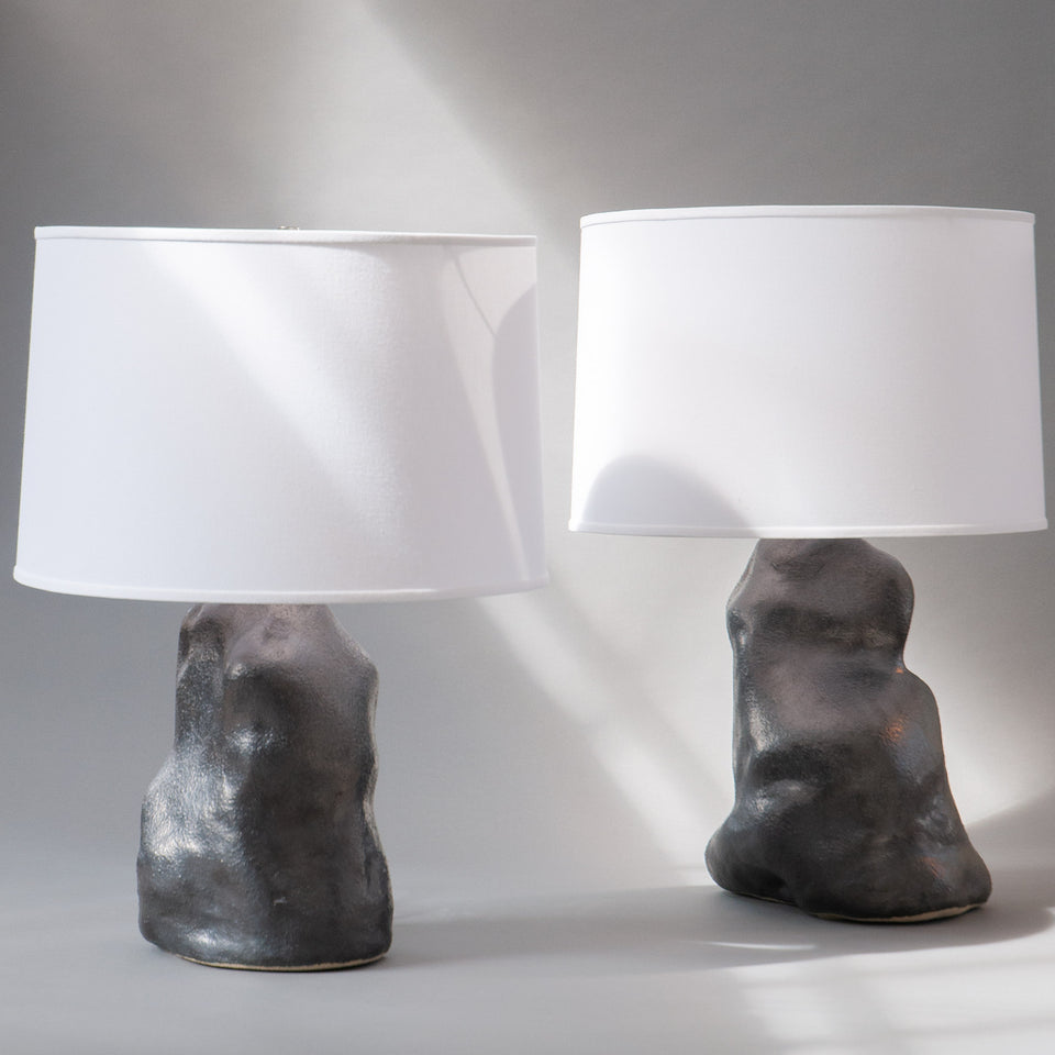 Metallic Black Amorphous Lamp Pair