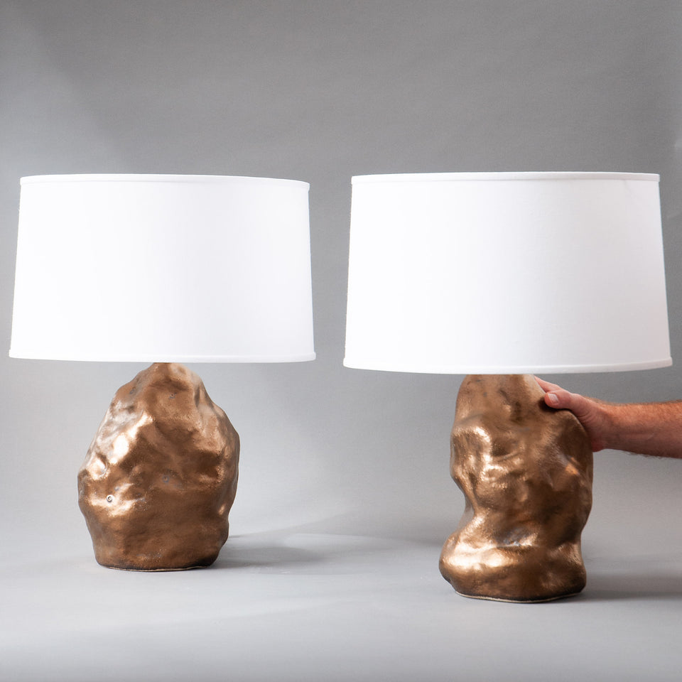 Bronze Amorphous Lamp Pair Detail 3